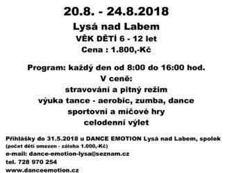 LETNÍ PŘÍMĚSTSKÝ TANEČNÍ TÁBOR 20.8.-24.8.2018