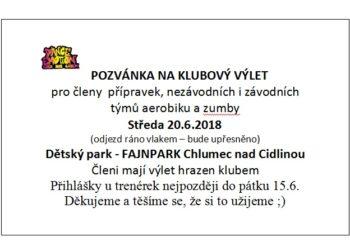 KLUBOVÝ VÝLET  – STŘEDA 20.6.2018